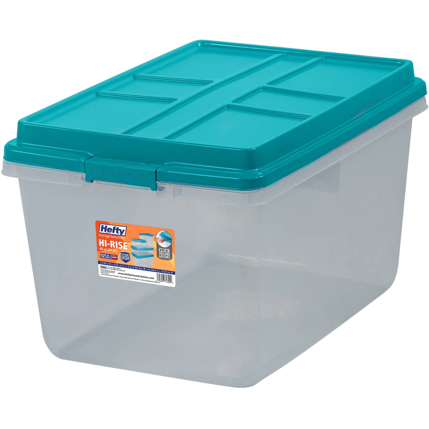 Hefty 72-Qt Hi-Rise Clear Latch Box, Teal Sachet Lid and Handles