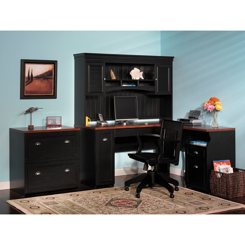 Bush Fairview L-Shaped Computer Desk/Hutch and Lateral File Set, Black