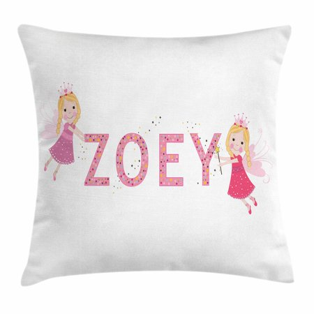 Zoey Throw Pillow Cushion Cover, Feminine Themed Baby Girl Name Magic Creatures Calligraphic Alphabet Letter Design, Decorative Square Accent Pillow Case, 16 X 16 Inches, Multicolor, by Ambesonne