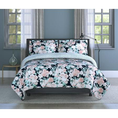 Inspired Surroundings, (3) Piece Full/Queen Comforter Set - English Garden Floral Print - Comforter 90