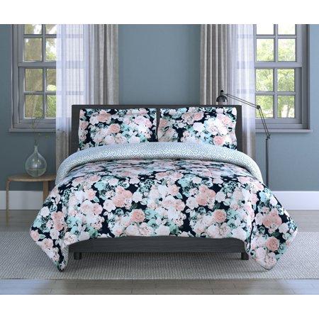 English Garden Floral Microfiber 3 Piece Full/Queen Comforter Set, Comforter 90x90, Sham 20x26 (2), (Antique Floral Queen)