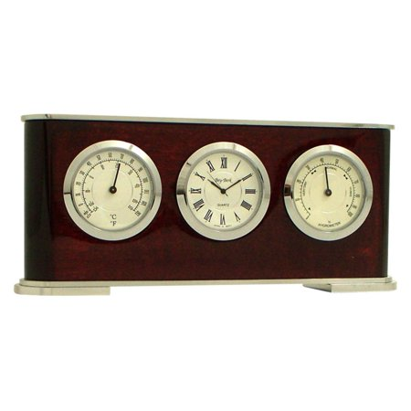 - Bey-Berk International Rosewood Weather Station Desktop Clock
