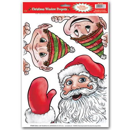New Santa And Elves Peeper Glass Cling Christmas Holiday Party Decoration (Christmas Party Decoration)