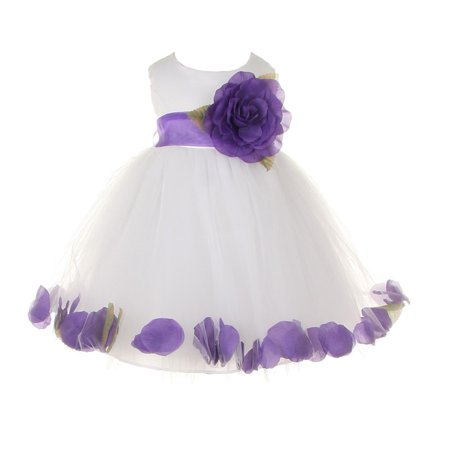 Baby Girls White Purple Petal Adorned Satin Tulle Flower Girl Dress 6-24M - White Toddler Dress