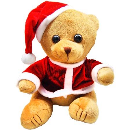 Dressed Teddy Bear - Christmas Themed Beanie Teddy Bear Dressed in Red With Santa Hat