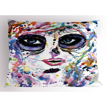 Sugar Skull Pillow Sham Halloween Girl with Sugar Skull Makeup Watercolor Painting Style Creepy Look, Decorative Standard Queen Size Printed Pillowcase, 30 X 20 Inches, Multicolor, by
