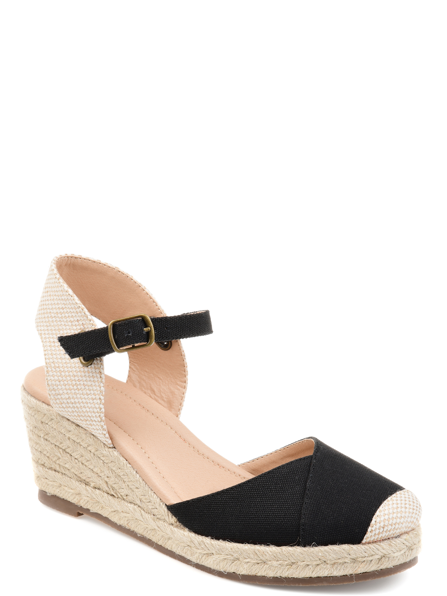 Brinley Co. Comfort Womens Espadrille Ankle-strap Wedge