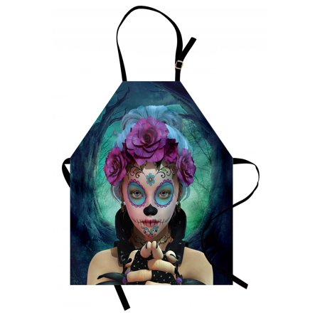 Horror Apron Scary Clown like Girls Showing her Hands with Gloves an Flowers in Her Head Print, Unisex Kitchen Bib Apron with Adjustable Neck for Cooking Baking Gardening, Multicolor, by Ambesonne