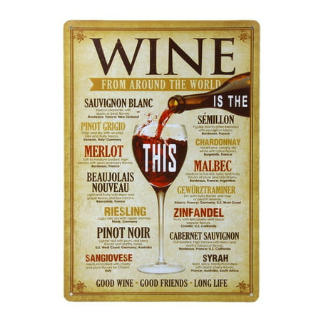Wine From Around The World Drinking Distressed Retro Vintage Tin Sign