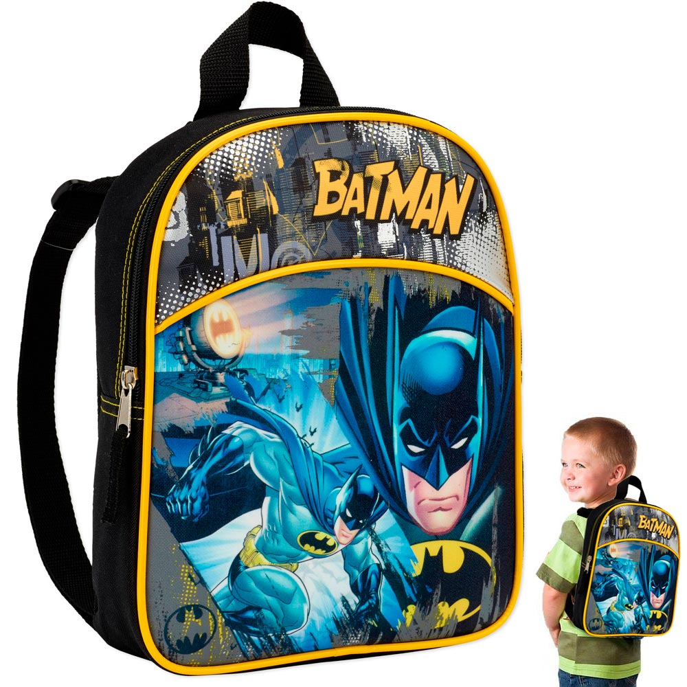 "Warner Bro's Batman 11"" Mini Backpack Kids School Character Book Bag Boys Camp !"