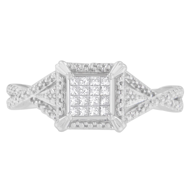 10KT White Gold 0.17 CTTW Princess Cut Diamond Ring (I-J,I1-I2)
