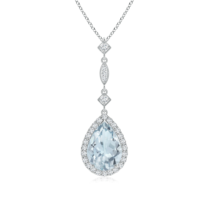 March Birthstone Pendant Necklaces Pear Shaped Aquamarine Teardrop Pendant with Diamond Accents in 950 Platinum (10x7mm... by Angara.com