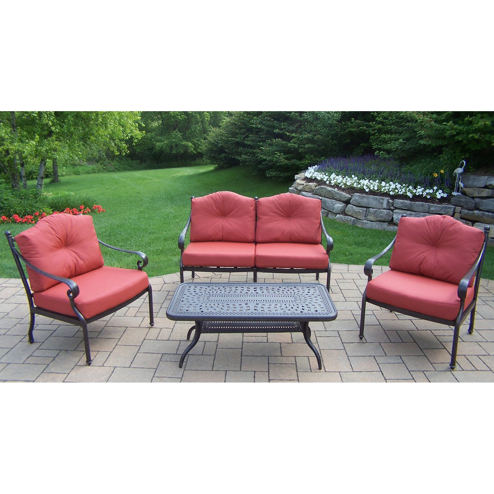 Oakland Living Berkley Aluminum 4 Piece Patio Conversation Set by Oakland Living Corporation