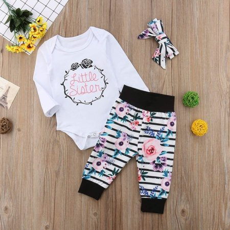 Newborn Baby Little Sister Romper Big Sister T-shirt+Long Pant Clothes Outfit (Big Daddy Little Sister Halloween)