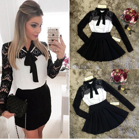 Sexy Women Black Lace Long Sleeve Bodycon Party Evening Short Mini Dress Pencil (Best Shapewear For Bodycon Dress)