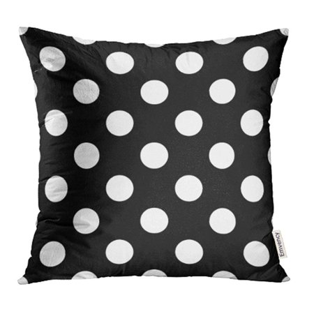 ARHOME Circle with Big Polka Dot Pattern Retro Casual Stylish White on Black Abstract Plaid Pillowcase Cushion Cover 18x18 inch ()