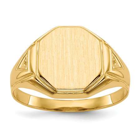 (ICE CARATS 14kt Yellow Gold Signet Band Ring Size 9.50 Man Fine Jewelry Dad Mens Gift Set)