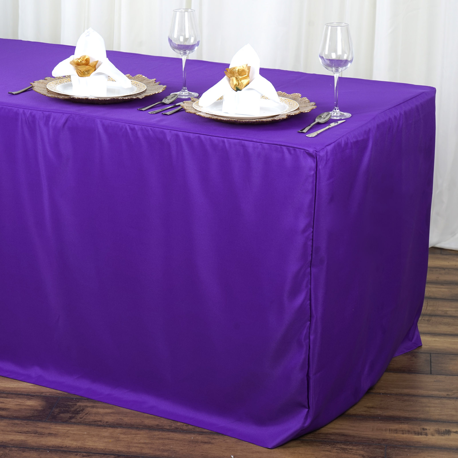 BalsaCircle 6 feet Fitted Polyester Tablecloth Table Linens Wedding Party by
