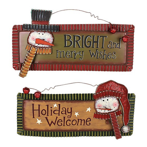 Attraction Design Home Holiday Magic Snowman 2 Piece Sign (Holiday Welcome and Bright and Merry Wishes) Set