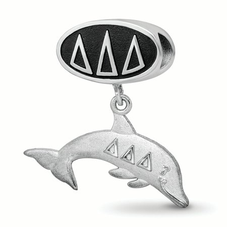 Sterling Silver LogoArt Official Licensed Greek Sororities Delta Delta Delta (???) Oval Bead With Dolphin Dangle