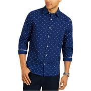 Nautica Mens Big & Tall Classic Fit Printed Button-Down Shirt Navy XXL