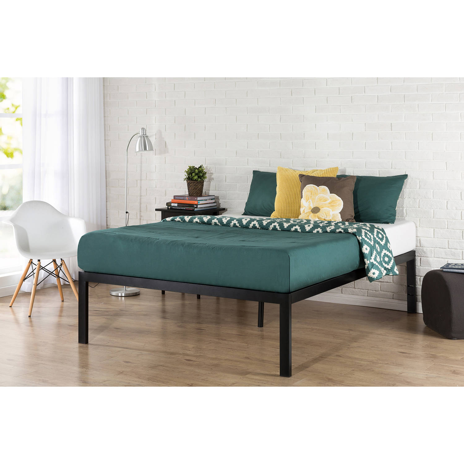 "Zinus Lorrick 18"" Quick Snap Metal Platform Bed, No Box Spring Needed, Multiple Sizes"