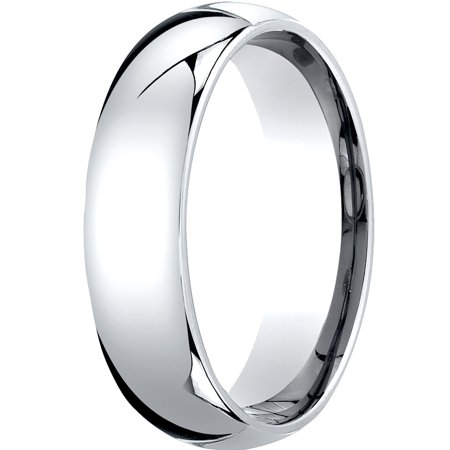 - Mens 10K White Gold, 6mm Slightly Domed Standard Comfort-Fit Wedding Band