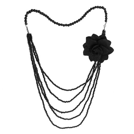 Unique Bargains Lady Sweater Black Fake Pearl Necklace w Flower Brooch Pin