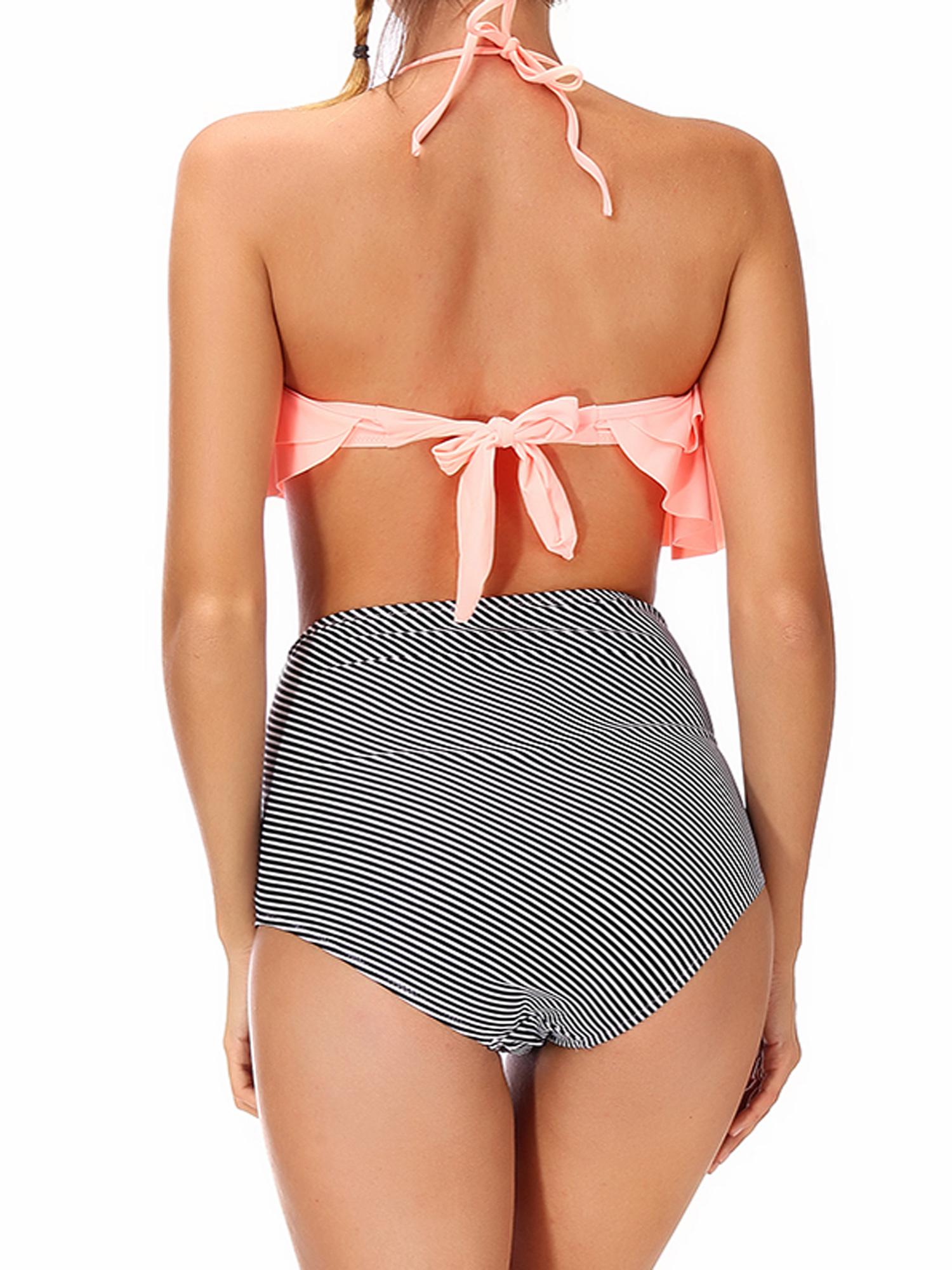 1a31ba5801 Lelinta - LELINTA Juniors  Bandage Hight Waist Halter Bikini Set Ruffle  Tops Swimsuit Bathing Suit Swimwear Beach Dress - Walmart.com