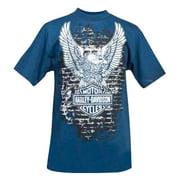 Men's Up-Wing Eagle Brick Graphic Short Sleeve T-Shirt, Blue
