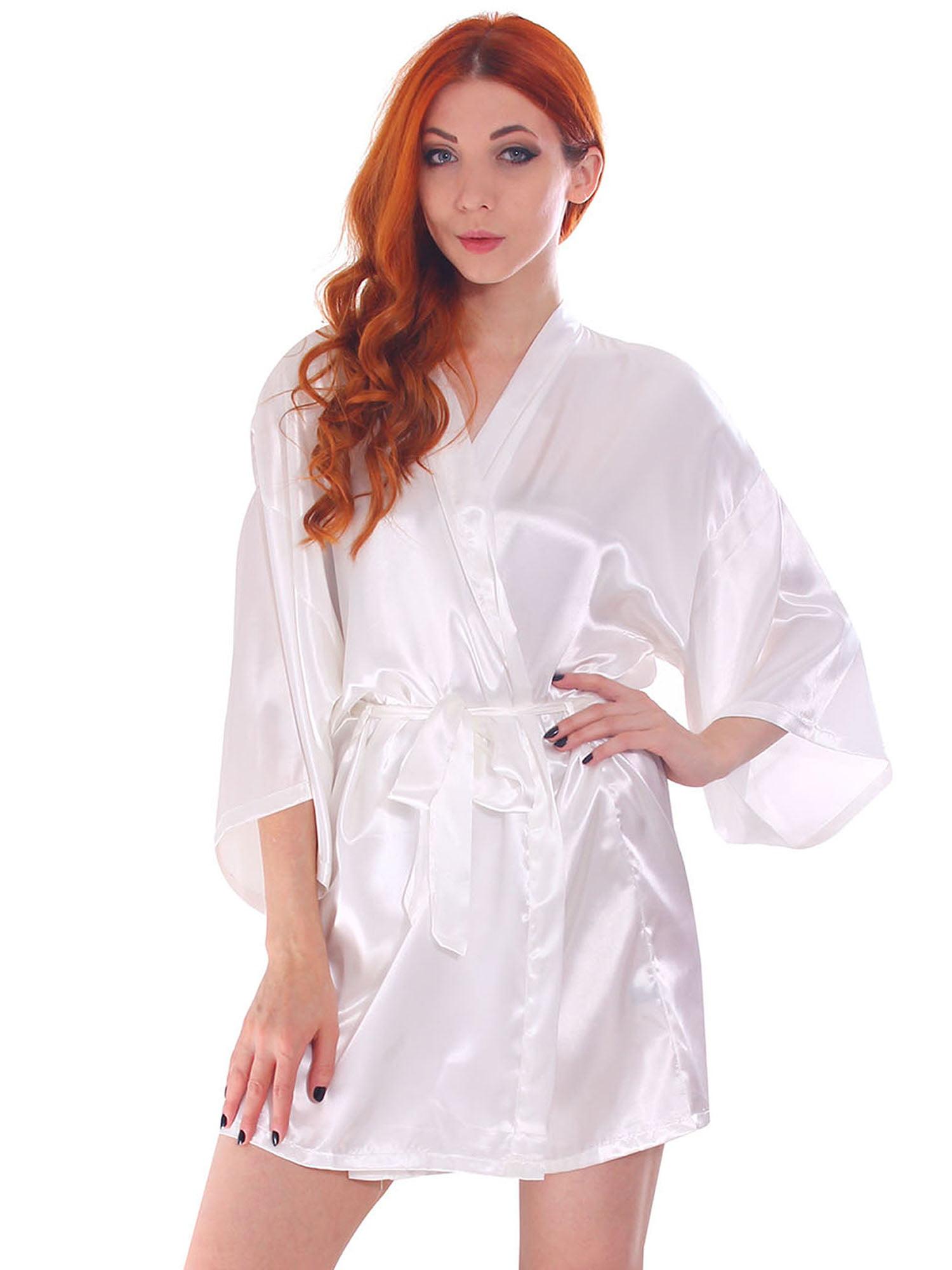 Simplicity Women S Silk Satin Short Lingerie Japanese Kimono Robe Bathrobe White Walmart Com Walmart Com