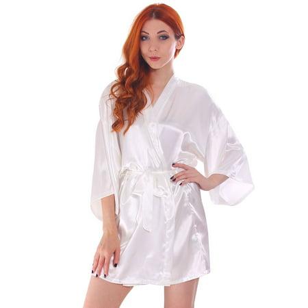 408672cc72 BASILICA - Women s Silk Satin Short Lingerie Japanese Kimono Robe Bathrobe