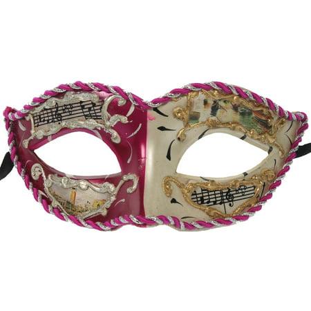 MARDI GRAS MASK - Music Notes Vintage Scenes - COSTUME - Charlie Scene Mask For Sale