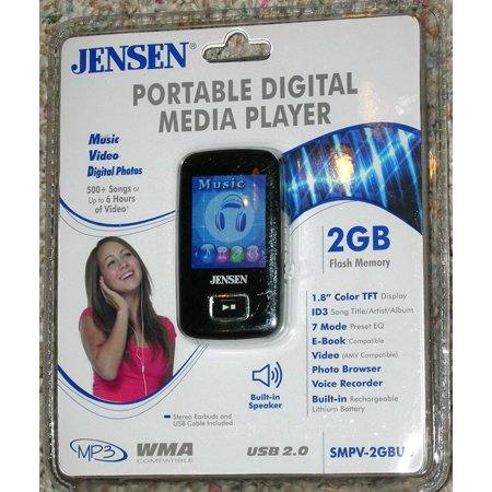 """2GB Flash MP3 Player (SMPV-2GBUB) - Black, Playback of MP3 and WMA. 2GB Built-in Flash Memory. 1.8"""" Color TFT Display By Jensen (Halloween Ii Theme Mp3)"""