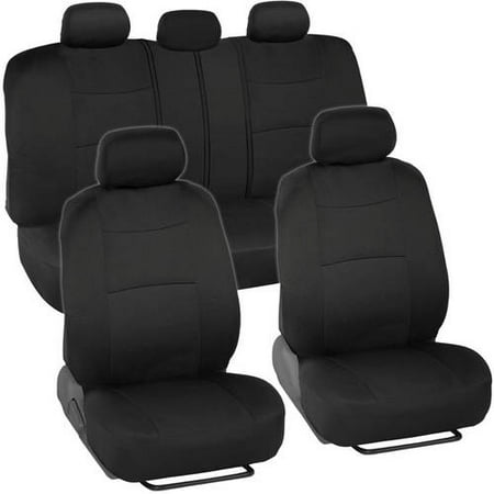 BDK PolyCloth Car Seat Covers, 2-Tone Split Bench EasyWrap Full Set