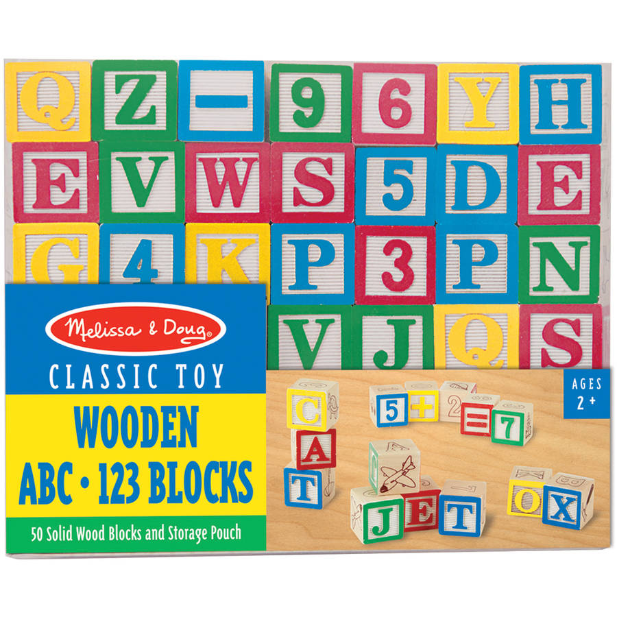 Melissa & Doug Deluxe Wooden ABC 123 Blocks Set With Storage Pouch (50 pcs; colors may... by Melissa %26 Doug