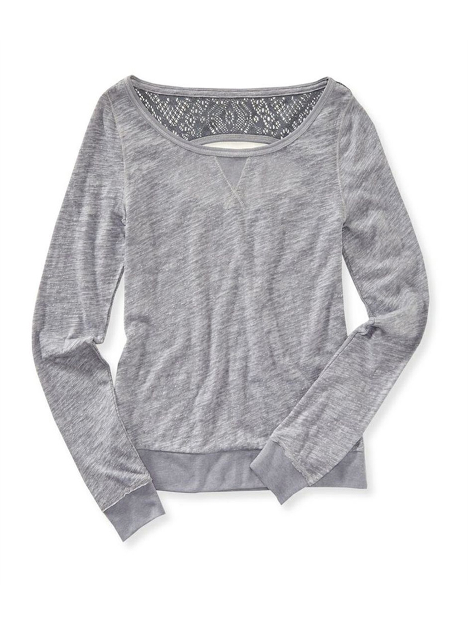 Aeropostale Womens Solid Ls Basic T-Shirt 017 XS Juniors