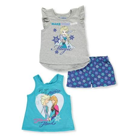Disney Frozen Girls' 3-Piece Shorts Set Outfit - Kids Disney Outfits