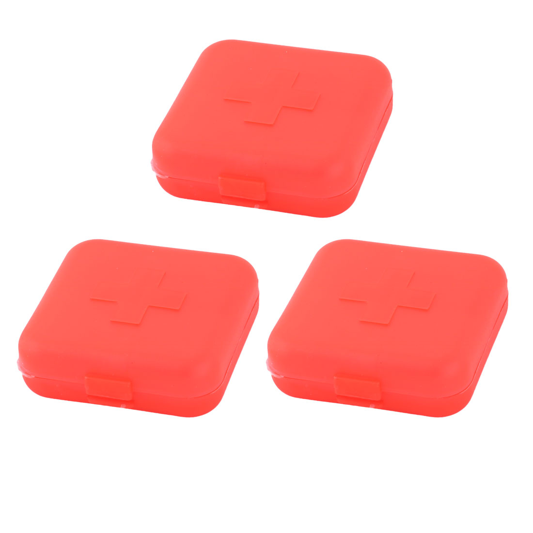 Hiking Plastic 4 Compartments Medicine Pill Holder Storage Box Case Red 3pcs