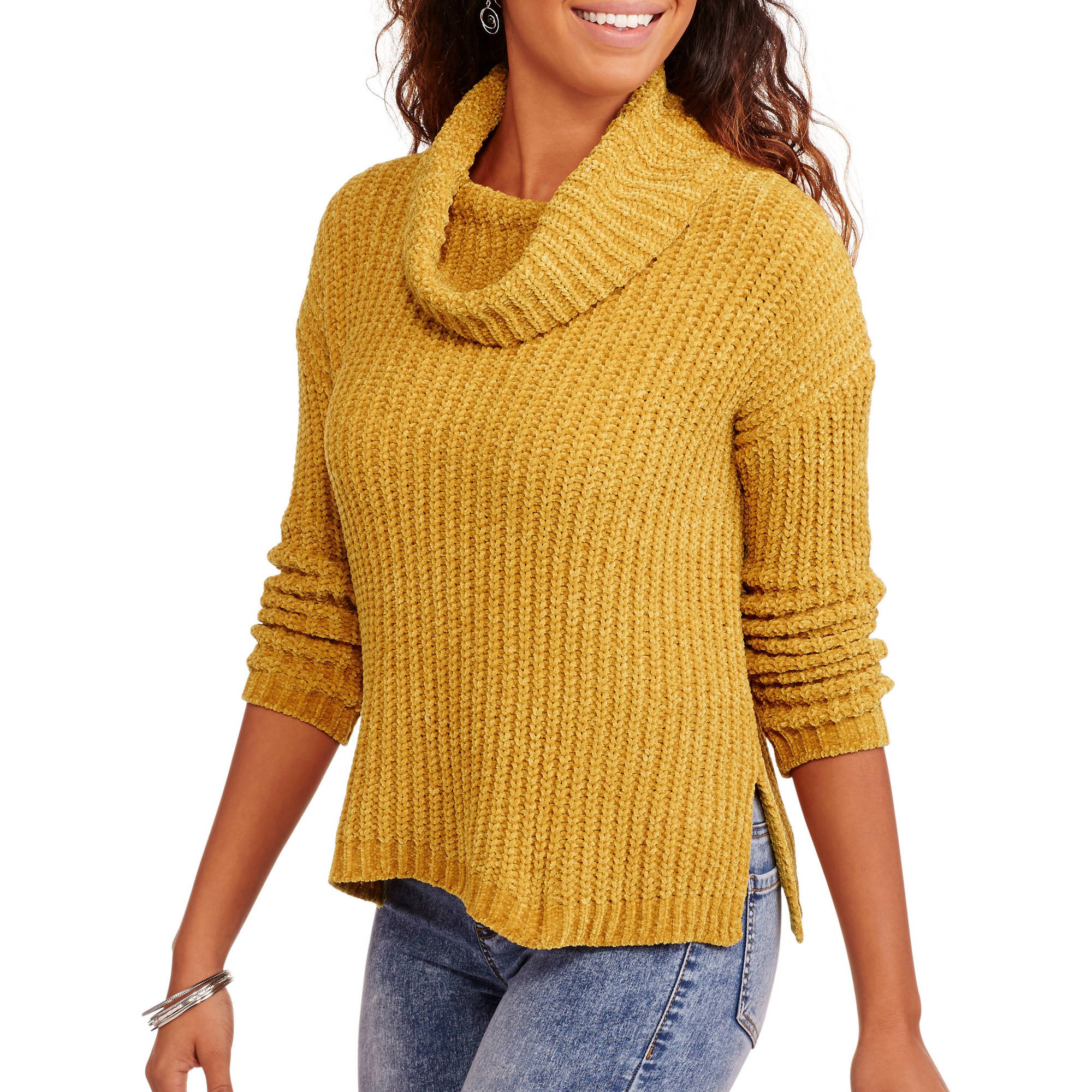 No Boundaries Juniors' Chenille Mock Neck Sweater