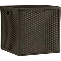 Suncast 60 Gallon Java Resin Wicker Storage Cube Deck Box