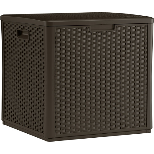 Suncast 60 Gallon Java Resin Wicker Storage Cube Deck Box BMDB60