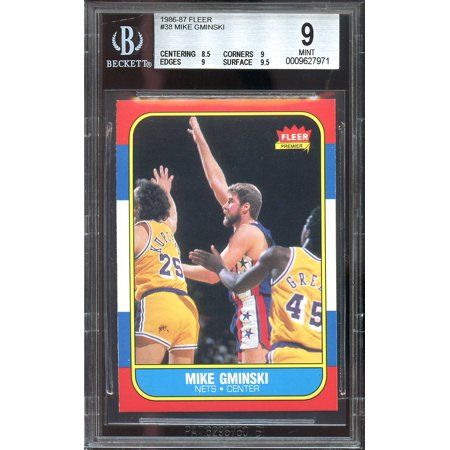 1986 87 Fleer  38 Mike Gminski New Jersey Nets Bgs 9  8 5 9 9 9 5