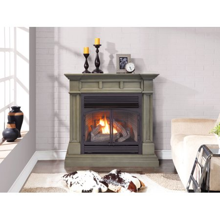 Duluth Forge Dual Fuel Ventless Gas Fireplace - 32,000 BTU, Remote Control, Slate Gray Finish, Model DFS-400R-2GR