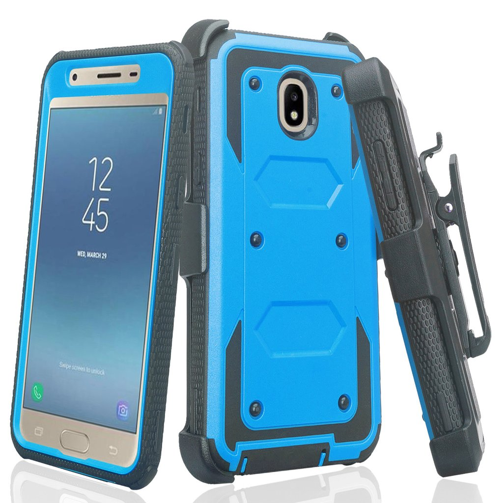 Samsung Galaxy J7 2018, J7v 2nd Gen, J7 Star, J7 Refine Case, Rugged Full-Body Coverage [Built-in Screen Protector] Heavy Duty Holster Shell Combo Phone Case - Blue