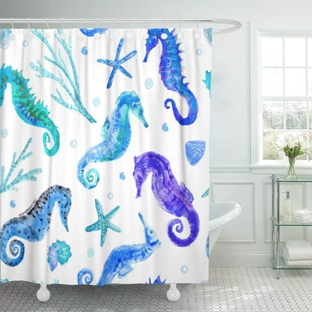 ARTJIA Pink Sea Blue Seahorse Shell Starfish Coral and Bubbles Underwater World on White Watercolor Animal Shower Curtain 66x72 (Bubble Coral Animals)