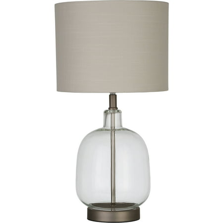 Dome Glass Table Lamp (Better Homes & Gardens Clear Glass Lamp Artisan Glass Table Lamp, Easy On/Off Switch )