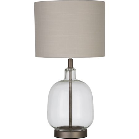 Better Homes & Gardens Clear Glass Lamp Artisan Glass Table Lamp, Easy On/Off Switch