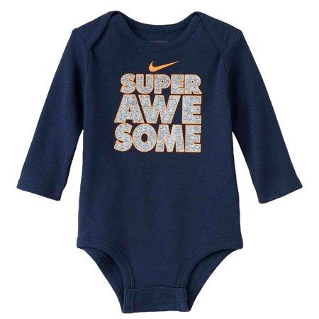 nike infant boys blue super awesome bodysuit snap bottom t shirt. Black Bedroom Furniture Sets. Home Design Ideas
