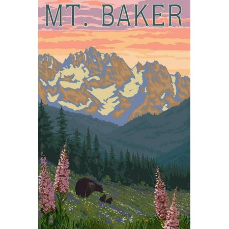 Mt. Baker, Washington - Bears and Spring Flowers Print Wall Art By Lantern Press